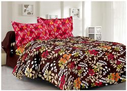 Welhouse India Cotton Floral Double Size Bedsheet 180 TC ( 1 Bedsheet With 2 Pillow Covers Brown )