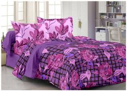 Welhouse India Cotton Floral Double Size Bedsheet 180 TC ( 1 Bedsheet With 2 Pillow Covers Purple )