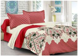 Welhouse India Cotton Printed Double Size Bedsheet 180 TC ( 1 Bedsheet With 2 Pillow Covers Red )