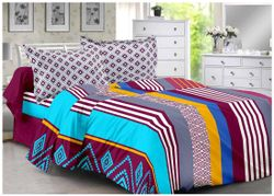 Welhouse India Cotton Floral Double Size Bedsheet 180 TC ( 1 Bedsheet With 2 Pillow Covers Multi )