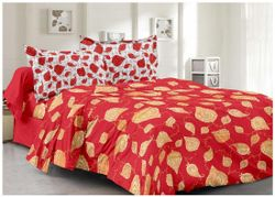 Welhouse India Cotton Floral Double Size Bedsheet 180 TC ( 1 Bedsheet With 2 Pillow Covers Red )