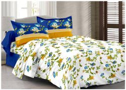 Welhouse India Cotton Floral Double Size Bedsheet 180 TC ( 1 Bedsheet With 2 Pillow Covers Blue )