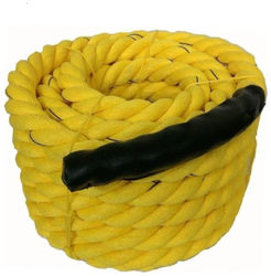 Battle Rope 35m - 32mm Thickness Exercise Fitness Training Equipment Rope (Yellow)