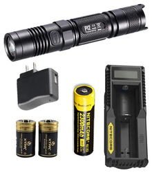 Nitecore P12 2015 Version w NL183 UM10 USB Wall Adaptor 2 CR123A Batteries