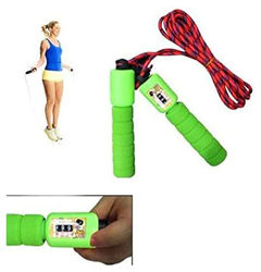 Skipping Rope with Counter Anti Slip Rubber Grip Adjustable Length Skip Jump Number Count Upto 999 Color May Vary