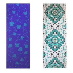 Vritraz Printed Extra Thick 6mm 182 88 cm (72 inch)x60 96 cm (24 inch) Long Premium Eco Safe Non Slip Yoga Mat With Free Carry Bag BlueLotus-Rhombus (Pack of 2)