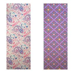 Vritraz Printed Extra Thick 6mm 182 88 cm (72 inch)x60 96 cm (24 inch) Long Premium Eco Safe Non Slip Yoga Mat With Free Carry Bag PinkPattern-PurplePattern (Pack of 2)