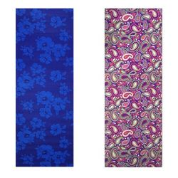 Vritraz Printed Extra Thick 6mm 182 88 cm (72 inch)x60 96 cm (24 inch) Long Premium Eco Safe Non Slip Yoga Mat With Free Carry Bag BlueDark-WaterDrop (Pack of 2)