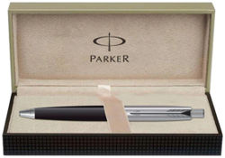 Parker Aster Shiny Black Chrome Trim Ball Pen