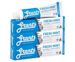 3 x Grants Natural Toothpaste w/ Fluoride Fresh Mint 110g