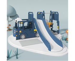 ALL 4 KIDS Lucas Baby Slider and Swing Play Center with Bus - Blue