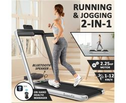 Costway 2 IN 1 Electric Treadmill 12kmh APP, Folding Running Machine Home Gym Walking Exercise Equipment, Sliver