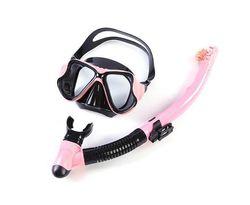 Adore MS2209 Snorkel Set Anti-Fog Tempered Glass Waterproof Lens Anti Leak Dry Top Snorkel Gear Suitable For Swimming Scuba Diving-Pink
