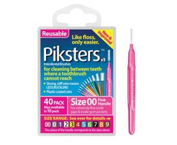 Piksters Tooth Cleaner Size 00 (Pink) - 40 Pack