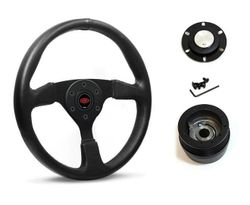 SAAS Steering Wheel SW516B-R & boss for Honda Civic ED 1988-1991 - Black