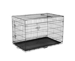 Foldable Dog Crate, Black Steel Pet Cage