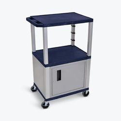 """Navy Blue Tuffy 3 Shelf 42"" AV Cart W/ Nickel Legs, Cabinet & Electric - Luxor WT42ZC4E-N"""