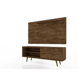 Liberty 62.99 Mid Century Modern TV Stand and Panel with Solid Wood Legs in Rustic Brown - Manhattan Comfort 221-201AMC9