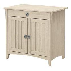 Bush Furniture Salinas Secretary Desk w/ Keyboard Tray & Storage Cabinet in Antique White - Bush Furniture SAS432AW-03