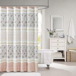 """Madison Park 72x72"" Cotton Shower Curtain in Blush - Olliix MP70-6874"""