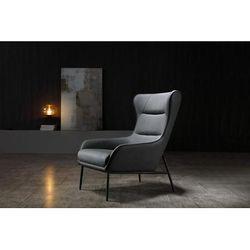 Wyatt Leisure Chair, Dark Grey Faux Leather, Sanded Black Coated Steel Base - Whiteline Modern Living CH1707P-DGRY