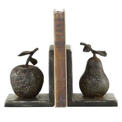"""( Set of 2 ) Grey Metal Rustic Fruit Bookends, 5"" x 6"" - 63418"""