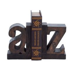 """""""( Set of 2 ) Brown Mango Wood Traditional A Z Bookends, 9"""" x 6"""" - 14413"""""""