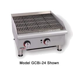 "APW GCB-48I 48"" Countertop Radiant Charbroiler - Cast Iron Grate, Natural Gas"
