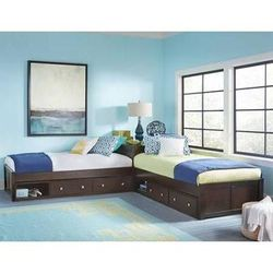 Pulse L-Shaped Bed w/ Double Storage in Chocolate - Hillsdale 32051N2S