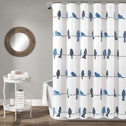 Rowley Birds Shower Curtain Navy Single 72X72 - Lush Decor 16T004143