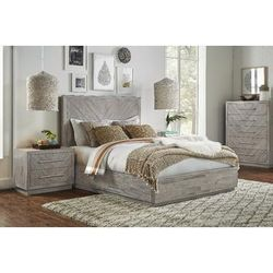 Alexandra Queen-size Solid Wood Storage Bed in Rustic Latte - Modus 5RS3P5