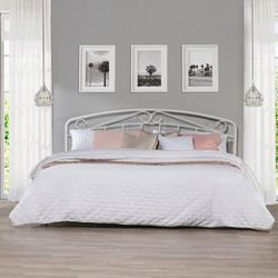 Metal King Headboard with Arched Scroll Design, White - Hillsdale 2586-670