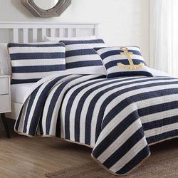 Hampton 4-Pc. Quilt Set by American Home Fashion in Blue (Size TWIN)