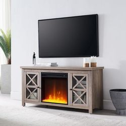 Colton Gray Oak TV Stands with Crystal Fireplace Insert - Hudson & Canal TV0685