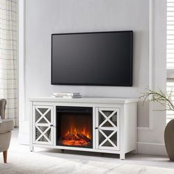 Colton White TV Stand with Log Fireplace Insert - Hudson & Canal TV0687