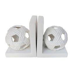 """ Ceramic 7""H Orb Bookends, White - Sagebrook Home 15083"""