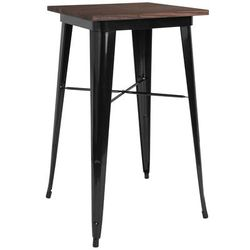 "Flash Furniture CH-31330-40M1-BK-GG 23 1/2"" Square Bar Height Table w/ Walnut Elm Wood Top - Steel Frame, Black"