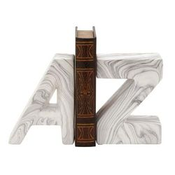 """""""CosmoLiving by Cosmopolitan ( Set of 2 ) White Dolomite Contemporary A Z Bookends, 6"""" x 8"""" - 59723"""""""