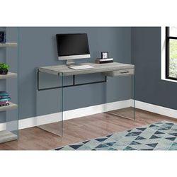 """Computer Desk - 48""L / Grey Reclaimed Wood / Glass Panels - Monarch Specialties I-7445"""