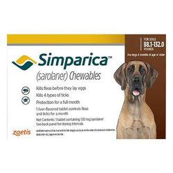 Simparica For Xlarge Dogs 40.1-60kg (Red) 6 Doses