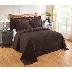 Better Trends Jullian Collection in Bold Stripes Design Bedspread by Better Trends in Chocolate (Size QUEEN)