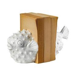 Meena (Set of 2) 9L x 6W White Coastal Puffer Fish Bookends - Mercana 68929