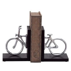 """""""( Set of 2 ) Silver Aluminum Vintage Bicycle Bookends, 6"""" x 7"""" - 26923"""""""