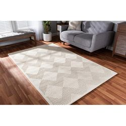 Baxton Studio Sovanna Modern and Contemporary Ivory Hand-Tufted Wool Area Rug - Wholesale Interiors Sovanna-Ivory-Rug