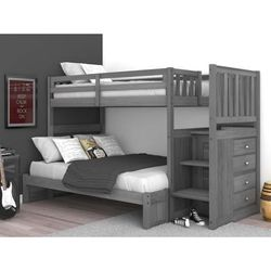 Discovery World Furniture Twin/Full Staircase Bunk Bed Charcoal