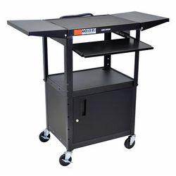 """Black 42"" Adjustable Height Table w/ keyboard tray, cabinet & dropleaf shelf - Luxor AVJ42KBCDL"""