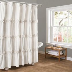 Darla White Shower Curtain 72x72 - Lush Decor C12864P13-000