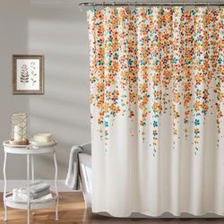 Weeping Flower Shower Curtain Turquoise/Tangerine 72X72 - Lush Decor 16T003776