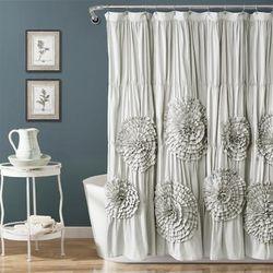 Serena Shower Curtain Light Gray Single 72X72 - Lush Decor 16T004256