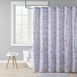 """Mi Zone 72x72"" Metallic Printed Shower Curtain in Aqua/Purple - Olliix MZ70-0599"""